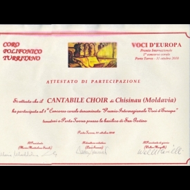 "Degree of participation at International Competion of Choral Music ""Voci D'Europa"", Porto Torres,  2010"