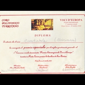 "Special prize at International Competion of Choral Music ""Voci D'Europa"", Porto Torres,  2010"